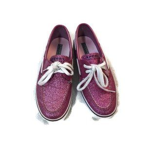 SPERRY Pink Sparkle Glitter Boat Deck Shoes